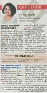 TOI, Surat Edition, December 28, 2016 By - Dr. Ami Mehta - The Hunger Scale