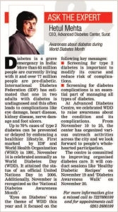 Diabetes Awareness - World Diabetes Day' published in The Times Of India, Surat Edition today (November 16, 2016)