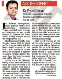 'Diabetes and Blood Pressure' - The Times of India, Ahmedabad Edition dated September 28, 2016